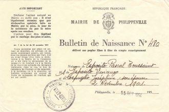 Pascal Esposito birth certificate