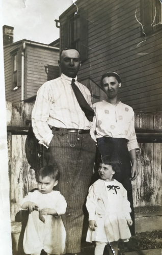 Frank Elder Hoch and wife Ella Mae Bowers/Hoch  (back), John Henry Hoch and his sister Helen Irene Hoch (children) abt. 1922, Penbrook, PA