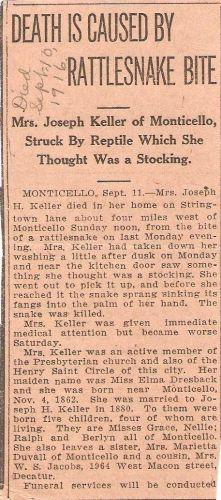 Elma (Dresback) Keller Obituary, 1916