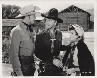 Russell Hayden and William Boyd and Jan Clayton.
