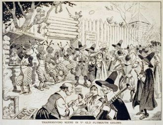 Thanksgiving scene in ye old Plymouth colony