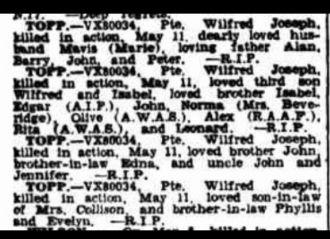 Wilfred Joseph Topp obituary