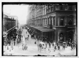 Crowd outside Grand Central Station, returning from...