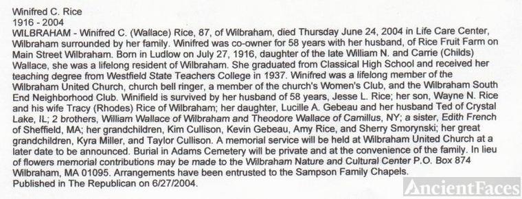 Winnifred Rice Obituary