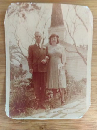 Wedding Day of George Russell Arnold & Hazel Mae Montgomery, 1948, Hollywood, CA