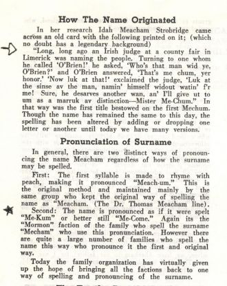 Mecham/Meacham Surname Origin, Pronunciation