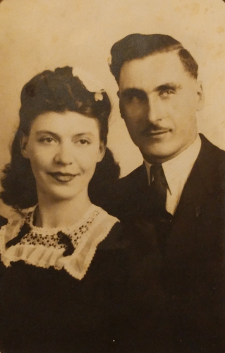 Margaret (nee Stawnychka) and Mike Rekush (born Rakush). Photo taken in Hamilton ON in 1948.