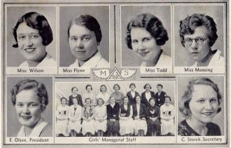 Elaine Olsen and Lowell Coaches & G.A.A. 1933