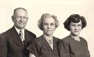 Ted, Fanny, & Norma Jean Roos Family Photo