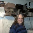 Judy in the radio room on Ham radio