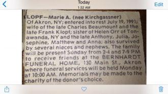 Marie A. (Kirchgassner) Lopf obituary