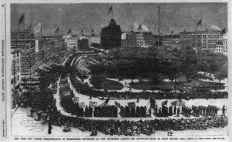 New York City - grand demonstration of workingmen,...