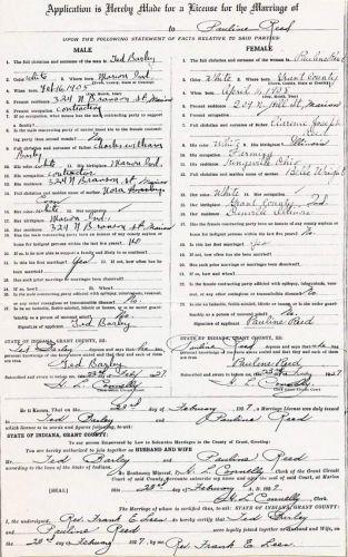 Sarah Pauline Reed Marriage