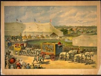 Parade with lion in cage on wagon, circus tent in