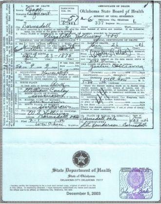 Sarah Elizabeth Lizzie Condley, death cert
