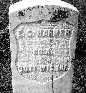Gravestone of E.S. Harmer, Civil War Vet