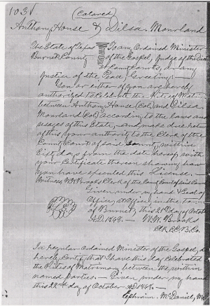 Anthony House and Dilsey Moreland Marriage Record
