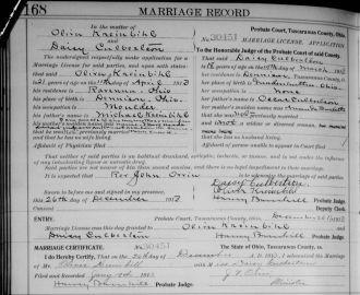 Oliver Kreinbihl marriage record