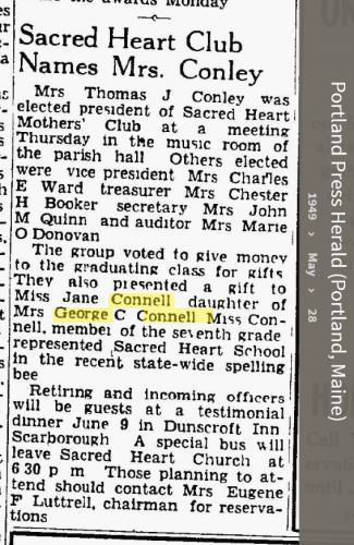Louise Marie Hagen-Connell--Portland Press Herald (Portland, Maine) (28 may 1949)