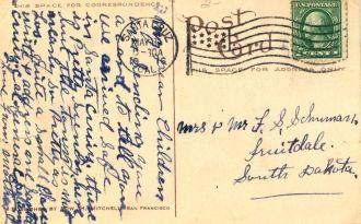 Postcard to F.S. Schuman, 1916