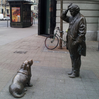 Peter Falk and Dog statues