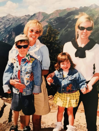 Marjorie, Angela, Christian and Camille in Aspen, Colorado 2008.