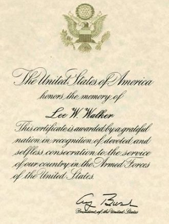 Lee W. Walker, Certificate of Appreciation