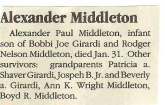Alex Middleton Death Notice
