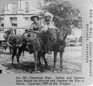 Cowboy and Indian, 1907 Wyoming