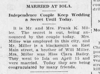 Clara L (Bailey) Miller Marriage