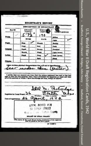 John Leonard Bride--U.S., World War II Draft Registration Cards, 1942 back