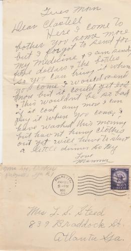 Odessa Lenora Croker Letter