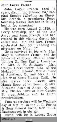 John Logan French Obituary