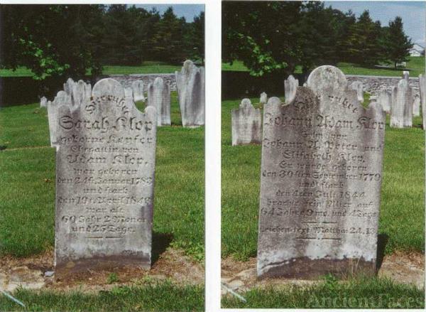 John Adam & Sarah Klopp's Headstones