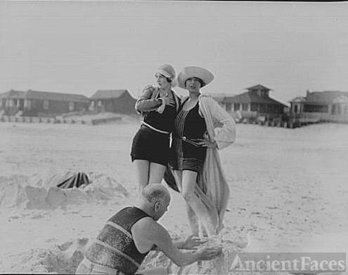 Unidentified man building sand castle