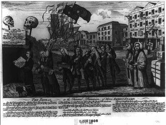 The repeal, or the funeral procession of Miss Americ-Stamp