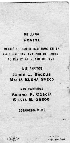 Romina Greco-Backus baptism