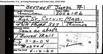 Massachusetts, U.S., Arriving Passenger and Crew Lists, 1820-1963