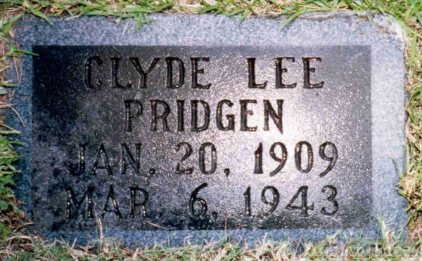 Gravestone of Clyde Lee Pridgen
