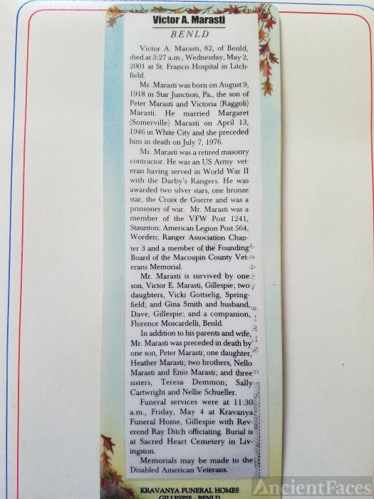 Victor A Marasti Obituary