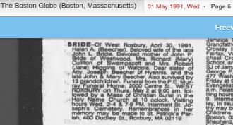 Helen Alberta Beecher-Bride--obituary Newspaper