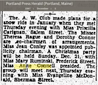 Anne Louise Connell-Coughlan--Portland Press Herald (Portland, Maine)(5 dec 1947)