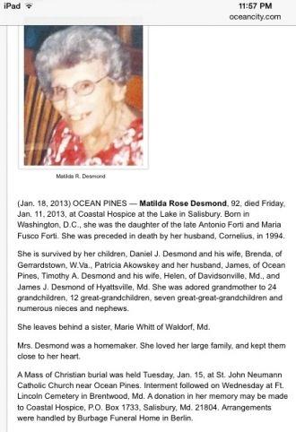 Matilda Rose (Forti) Desmond obituary