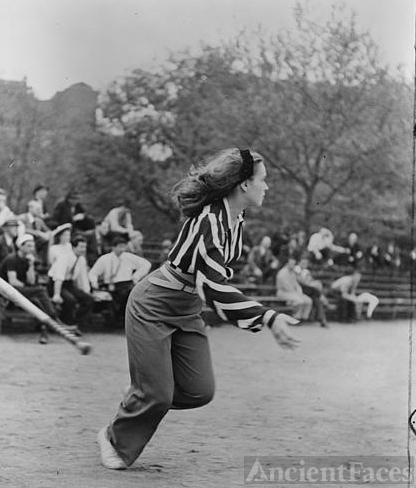 Woman playing softball