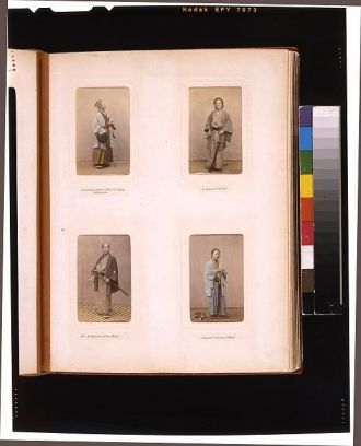[Studio portraits of a Japanese officer in riding...