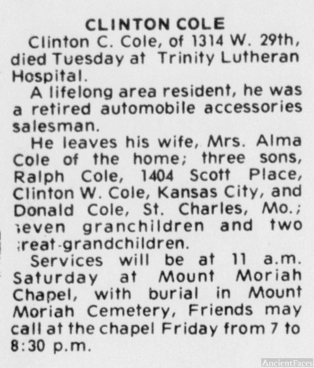 Clinton Carol Cole - Obituary