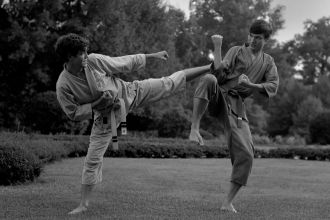 Dan and Bill practicing Tae Kwon Do in Overton Park