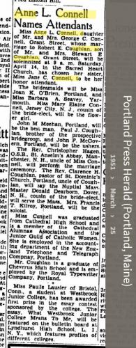 Anne Louise Connell-Coughlan--Portland Press Herald (Portland, Maine)(25 mar 1951)