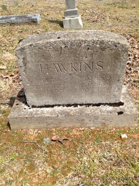 Rebecca (Johnson) & James Hawkins gravestone