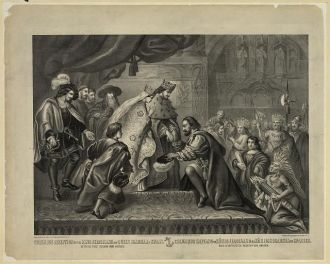Columbus reception by the King Ferdinand and Queen...